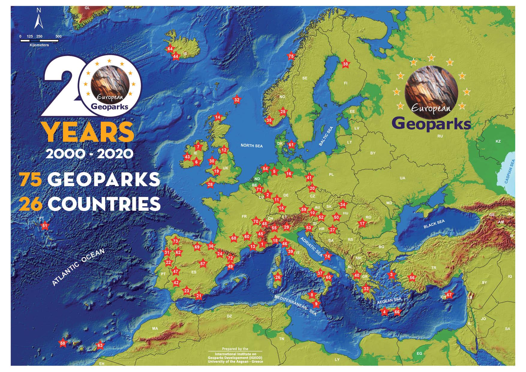 Mappa dei Geoparchi europei